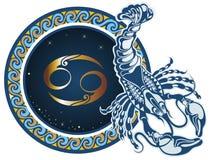 cancer undertecknar zodiac royaltyfri illustrationer