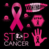 Cancer virus. DNA cancer. Stop cancer world. Stop cancer hand sign. Pink ribbon. on black background vector illustration Stock Images