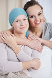 Cancer woman and caring sister Royalty Free Stock Images