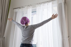 Cancer woman feel hope Royalty Free Stock Image