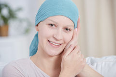 Cancer woman with positive attitude Stock Image