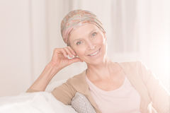 Cancer woman with positive attitude. Cancer women with positive attitude wearing headscarf Royalty Free Stock Images