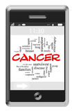 Cancer Word Cloud Concept on Touchscreen Phone Royalty Free Stock Image