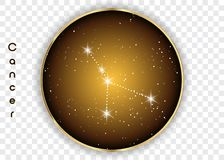 Cancer zodiac constellations sign on beautiful starry sky with galaxy and space behind. Cancer horoscope symbol constellation on d. Eep cosmos background. Vector Stock Image