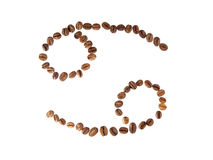 Cancer zodiac sign. Zodiac sign cancer from coffee beans on the white background stock photo