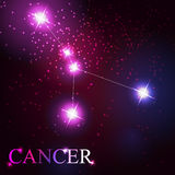 Cancer zodiac sign of the beautiful bright stars. On the background of cosmic sky Stock Photo