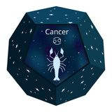 Cancer zodiac sign in a blue cosmos ball stock illustration