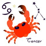 Cancer zodiac sign in cartoon style isolate on white background vector royalty free illustration