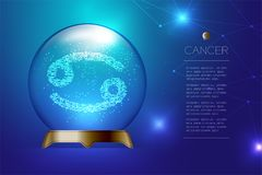 Cancer Zodiac sign in Magic glass ball, Fortune teller concept design illustration. On blue gradient background with copy space, vector eps 10 Stock Image