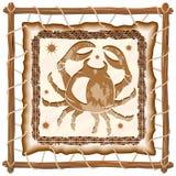 Cancer Zodiac Sign on Native Tribal Leather Frame Stock Photo