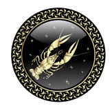 Cancer zodiac sign in circle frame stock illustration