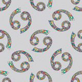 Cancer zodiac sign seamless pattern. Horoscope magic symbol background. Hand drawn astrological colorful  texture for wallpa Royalty Free Stock Photo