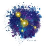 Cancer Zodiac Sign with Watercolor Textured Stain. vector illustration