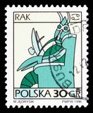 Cancer, Zodiac signs serie, circa 1996. MOSCOW, RUSSIA - SEPTEMBER 15, 2018: A stamp printed in Poland shows Cancer, Zodiac signs serie, circa 1996 stock photos