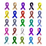 Cancerband Uppsättning av band av olika färger mot cancer Internationell dag av cancer Världscancerdag vektor illustrationer