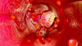 Cancerceller i blodkärl royaltyfri illustrationer