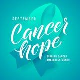 Cancerhopp Medvetenhetetikett för äggstocks- cancer Vektor Tamplate med Teal Ribbon - symbol av cancerkampen stock illustrationer