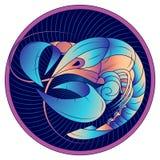 Cancerzodiaktecken, horoskopsymbolblått, vektor vektor illustrationer