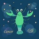 Cancerzodiaktecken på bakgrund för natthimmel med stjärnor Arkivbilder