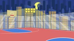 Cancha de básquet cercada plana del vector contra ciudad libre illustration