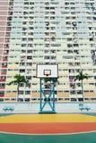 Cancha de básquet colorida en Hong Kong Fotos de archivo libres de regalías