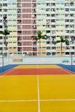 Cancha de básquet colorida en Hong Kong Fotografía de archivo libre de regalías