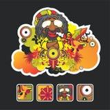 Canción e icono hermosos del reggae stock de ilustración