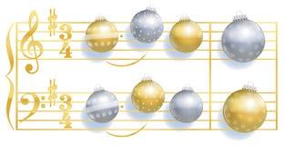 Canción silenciosa de las bolas de la Navidad de la noche Foto de archivo libre de regalías