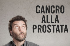 Cancro alla prostata,前列腺癌人writi的意大利文本 库存照片