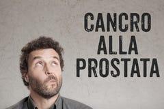 Cancro alla prostata, Włoski tekst dla raka prostaty mężczyzna writi Zdjęcia Stock