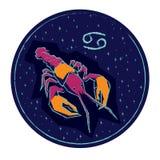Cancro del segno dello zodiaco sul fondo stellato del cielo di notte Fotografie Stock
