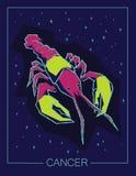Cancro del segno dello zodiaco sul fondo stellato del cielo di notte Fotografie Stock Libere da Diritti