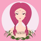 Cancro della ragazza dello zodiaco Immagine Stock
