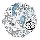 Cancro di Signes dello zodiaco royalty illustrazione gratis
