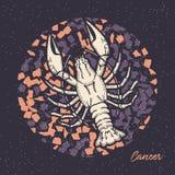 Cancro do sinal do zod?aco O símbolo do horóscopo astrológico Face das mulheres Hand-drawn de illustration ilustração stock