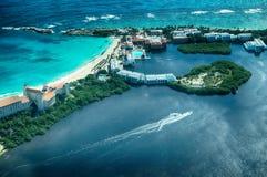 Cancun от взгляда глаза bird's (перспектива) Стоковое Изображение RF