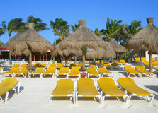 Карибский пляж в Cancun Мексике Стоковое Изображение RF