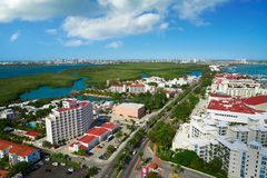 Cancun aerial view Hotel Zone of Mexico Royalty Free Stock Photos