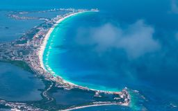 Cancun beach during the day. Cancun and the beach in the daytime with a drone Stock Image