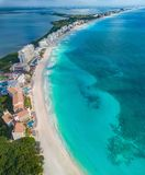 Cancun beach during the day. Cancun and the beach in the daytime with a drone Stock Images