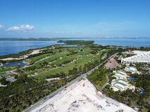 Cancun golf course and lagoon aerial view, Quintana Roo, Mexico