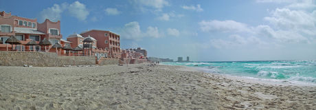 Cancun beach panorama. Cancun's superb white beach - 180 degree panorama royalty free stock images