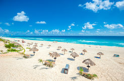 Cancun beach panorama, Mexico Royalty Free Stock Photos