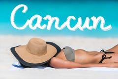 Cancun beach vacation bikini suntan woman relaxing Royalty Free Stock Images