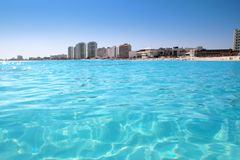 Cancun beach view from turquoise Caribbean. Water vacation destination Stock Photo