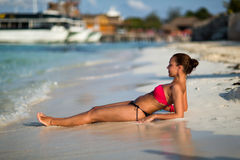 Cancun. Beautiful woman on the Cancun beach Royalty Free Stock Photo