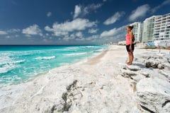 Cancun. Beautiful woman on the Cancun beach Royalty Free Stock Photography