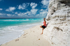 Cancun. Beautiful woman on the Cancun beach Stock Photos