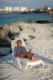 Cancun. Beautiful woman on the Cancun beach Royalty Free Stock Photos