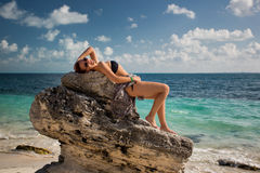 Cancun. Beautiful woman on the Cancun beach Stock Photo
